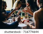 party dinner table  celebrating ... | Shutterstock . vector #716774644