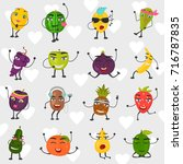 funny fruits set color flat...   Shutterstock .eps vector #716787835