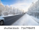 beautiful winter landscape with ... | Shutterstock . vector #716798695