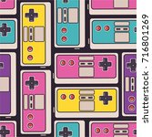 seamless pattern with game... | Shutterstock .eps vector #716801269