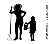 vector silhouette of family on... | Shutterstock .eps vector #716804305