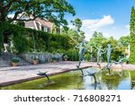 Small photo of STOCKHOLM, SWEDEN - JULY 31, 2017: Aganippe fountain created by Carl Milles, a Swedish sculptor, in the museum of Millesgarden in Stockholm, Sweden