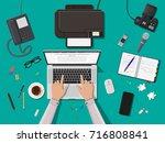 writer or journalist workplace. ... | Shutterstock . vector #716808841