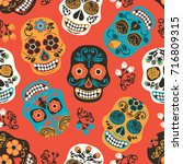 dia de los muertos. day of the... | Shutterstock .eps vector #716809315