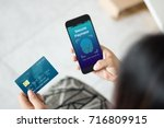 secure payment with touch id... | Shutterstock . vector #716809915