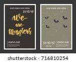 horror movie retro posters set. ... | Shutterstock .eps vector #716810254