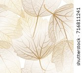seamless pattern with leaves... | Shutterstock .eps vector #716811241