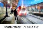 winter landscape in gloomy day. ... | Shutterstock . vector #716815519