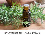 a bottle of rosemary essential... | Shutterstock . vector #716819671