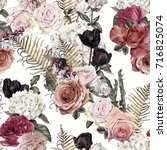 seamless floral pattern with... | Shutterstock . vector #716825074