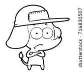 cartoon unsure elephant wearing ... | Shutterstock .eps vector #716830507