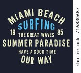 miami beach surf typography for ... | Shutterstock .eps vector #716830687