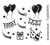 birthday party icons  mono... | Shutterstock . vector #716835091