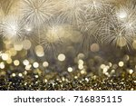 bokeh and fireworks background... | Shutterstock . vector #716835115