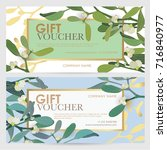 gift coupon with floral... | Shutterstock .eps vector #716840977