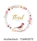 watercolor floral boho flower...   Shutterstock . vector #716842075