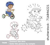 bicyclist boy. dot to dot... | Shutterstock .eps vector #716846221