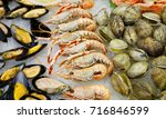 seafood on ice at the fish... | Shutterstock . vector #716846599