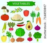 vector vegetables icons set in...   Shutterstock .eps vector #716850847