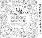 vector doodles autumn forest... | Shutterstock .eps vector #716853649