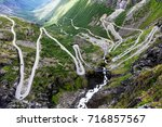 Norway troll road - mountain route of Trollstigen - stock photo