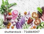 variety of vegetables a light... | Shutterstock . vector #716864047