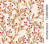seamless vector autumn pattern... | Shutterstock .eps vector #716864884