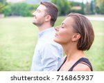 profile of a couple of man and... | Shutterstock . vector #716865937