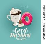good morning  banner. hot drink ... | Shutterstock .eps vector #716866861