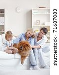 young family with a dog at home | Shutterstock . vector #71687083