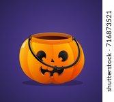 halloween pumpkin basket empty... | Shutterstock .eps vector #716873521