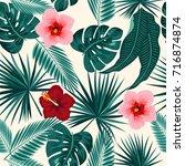 seamless pattern of leaves... | Shutterstock .eps vector #716874874