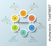 circular chart with 6... | Shutterstock .eps vector #716878837