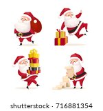 santa clauses set for christmas ... | Shutterstock .eps vector #716881354