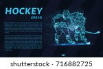hockey from the particles.... | Shutterstock .eps vector #716882725