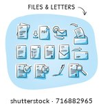 set with files and paper icons... | Shutterstock .eps vector #716882965
