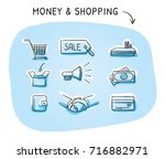 set with finance and shopping... | Shutterstock .eps vector #716882971