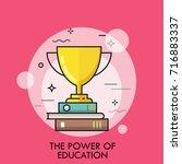 golden winner cup standing on... | Shutterstock .eps vector #716883337