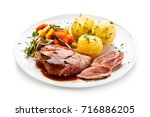 grilled steak with vegetables... | Shutterstock . vector #716886205