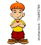red haired boy  a naughty boy. | Shutterstock .eps vector #716892784