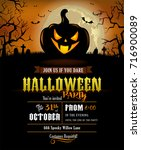 halloween party invitation with ... | Shutterstock .eps vector #716900089