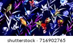 wide seamless floral background ... | Shutterstock .eps vector #716902765