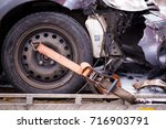 car accident. auto crash  wreck ... | Shutterstock . vector #716903791
