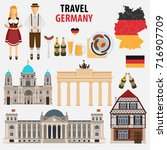 travel to germany. a set of... | Shutterstock .eps vector #716907709