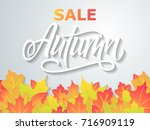 autumn sale flyer on a... | Shutterstock .eps vector #716909119
