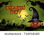 halloween pumpkins and spooky... | Shutterstock .eps vector #716918185