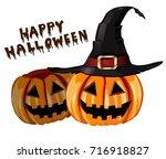 scary jack o lantern halloween... | Shutterstock .eps vector #716918827