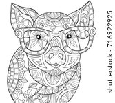 adult coloring page book a pig... | Shutterstock .eps vector #716922925