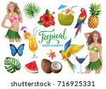 tropical collection for summer... | Shutterstock .eps vector #716925331