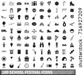 100 school festival icons set... | Shutterstock .eps vector #716927209